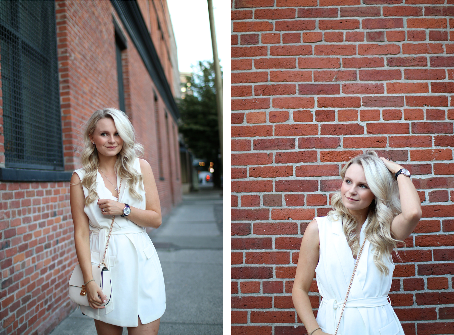 brick wall in gas town vancouver, portrait photography, blonde girl poses for photo of dress