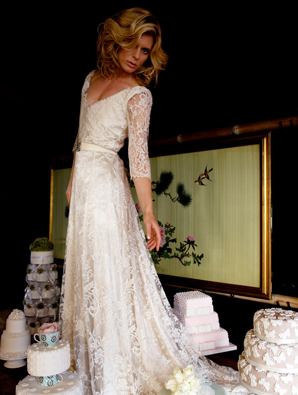Halfpenny London 2013 Vintage lace sleeves Wedding Dresses