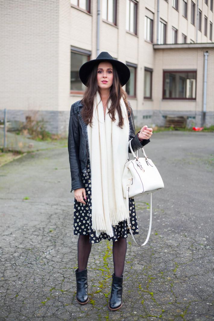 outfit: leather jacket, floral dress, wide brim hat