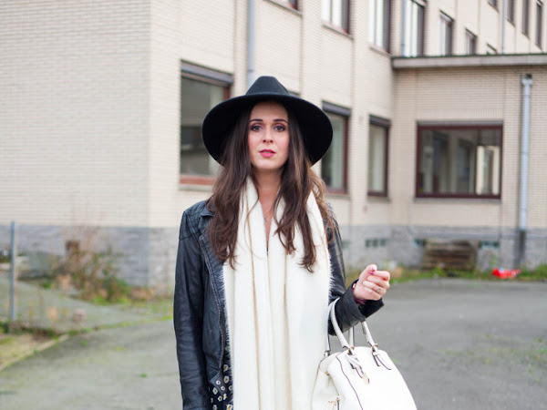 Outfit: winter floral with leather jacket
