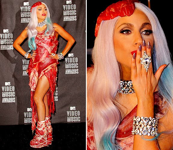 lady gaga meat dress shoes. Lady Gaga at the 2010 Video