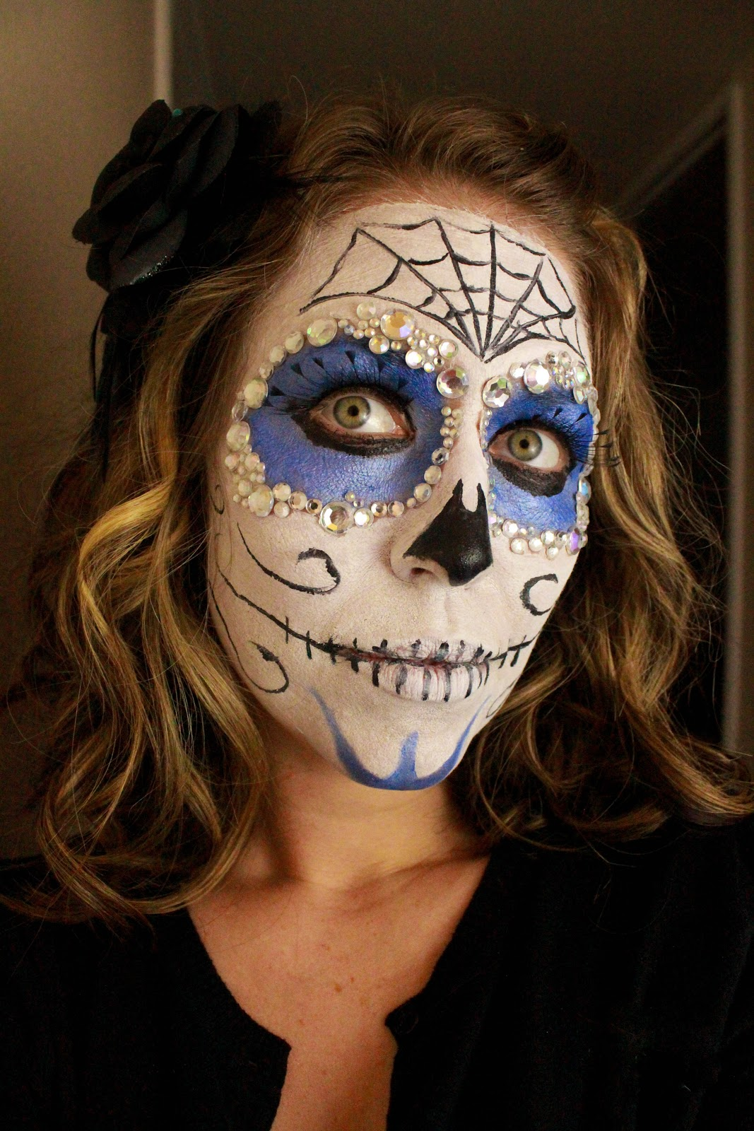 From dahlias to doxies dia de los muertos sugar skull face one of the many things ive learned from my mom always make your own halloween costume and never spend a lot of money doing it solutioingenieria Image collections