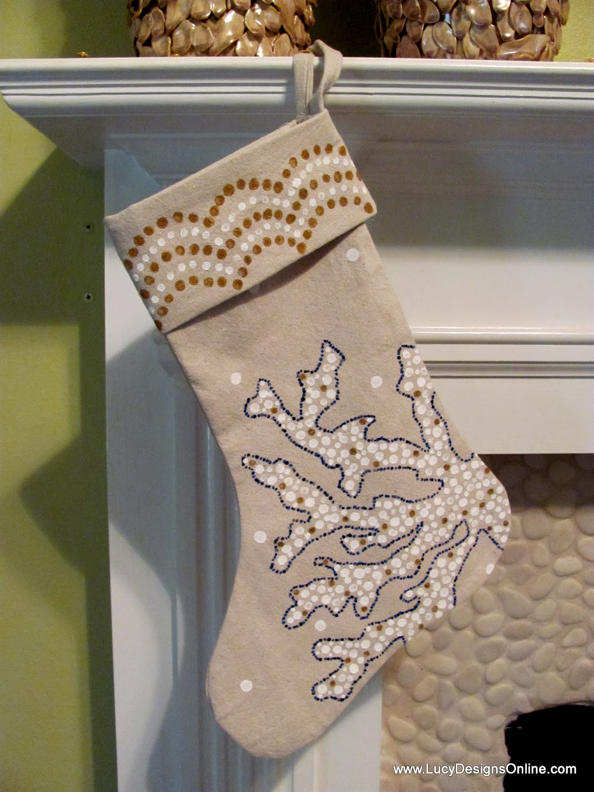 sea coral christmas stocking
