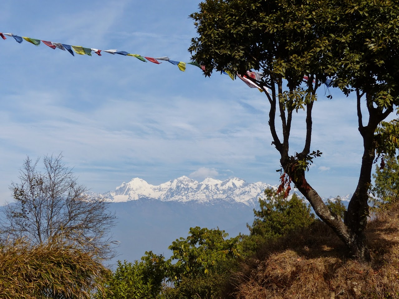 Himalayas peaks as seen from Kakani, Nepal