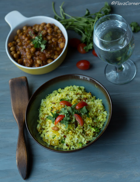 : Vegetable Poha With Punjabi Chhole/Vegetable Rice Flakes ...