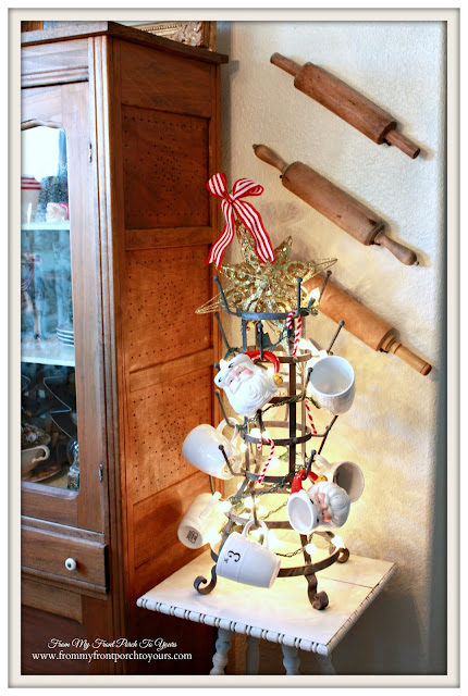 Farmhouse Christmas Kitchen-Breakfast Nook-French Bottle Drying Rack-From My Front Porch To Yours