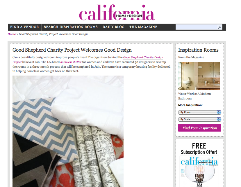 Good shepherd charity design project thank you california for California home and design magazine