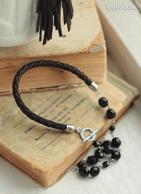 украшения, бижутерия, браслеты, кожа, кожаный браслет, черный