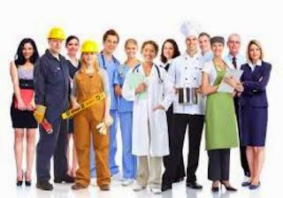 εργαζόμενοι σε διάφορους κλάδους