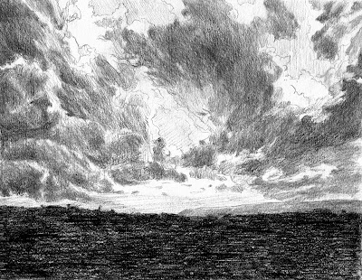 storm clouds, lava field. drawing. atmospheric, Hawaii, awe