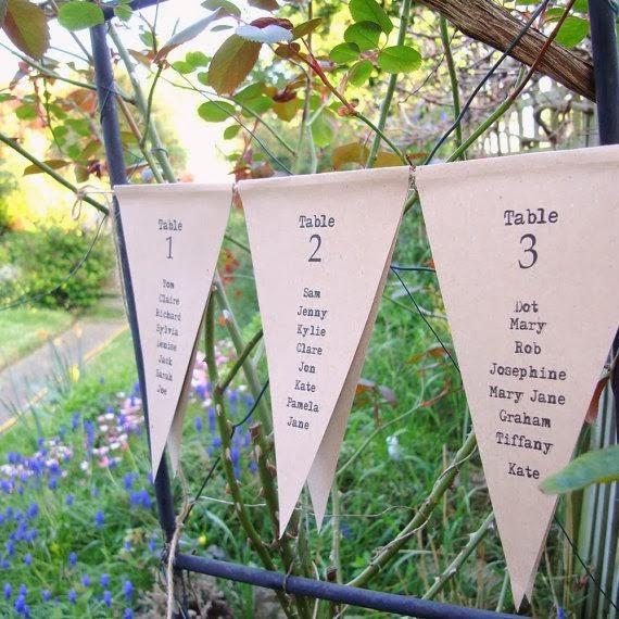 Asignar los asientos en una boda_banderines