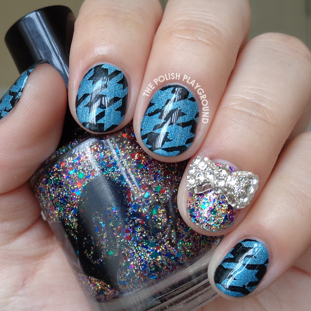 Blue and Black Houndstooth Stamping Nail Art