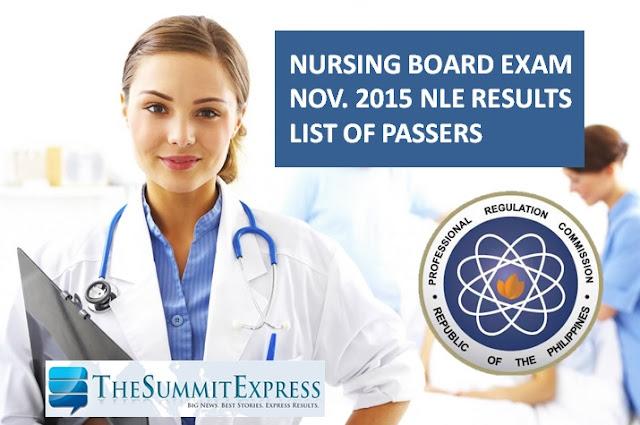 November 2015 NLE Results Nursing Board Exam