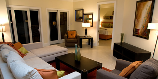 The contemporary interiors of these luxury waterfront condos for sale in Grand Bahama