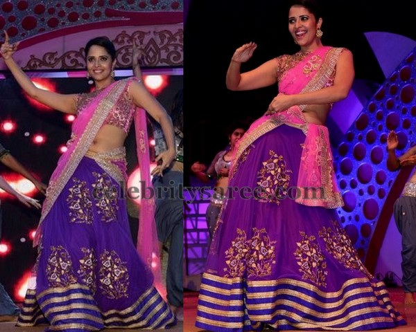 Anasuya Purple and Pink Half Sari