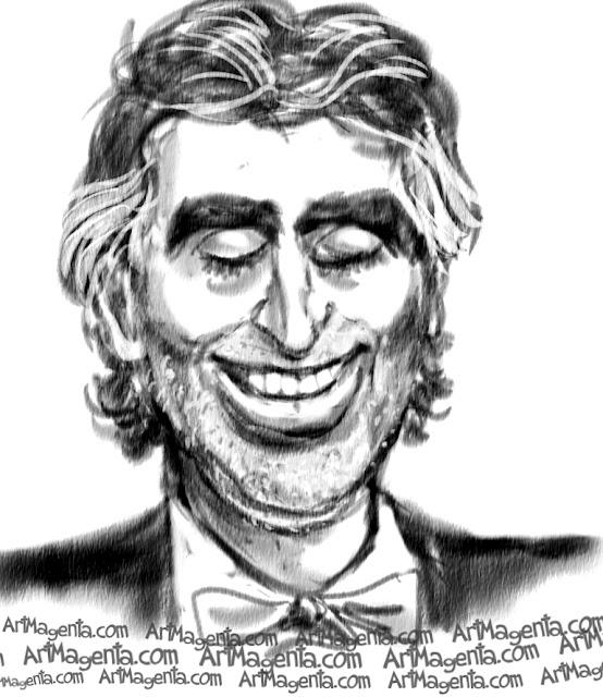 Andrea Bocelli caricature cartoon. Portrait drawing by caricaturist Artmagenta.