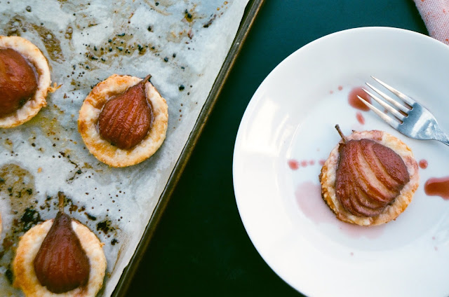 Red Wine-Poached Seckel Pear Tarts