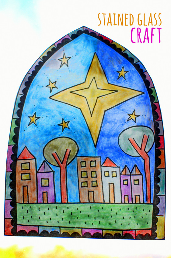 Free Stained Glass Coloring Sheet Craft- Print out design, color it in, turn it into stained glass! Great Christmas Craft