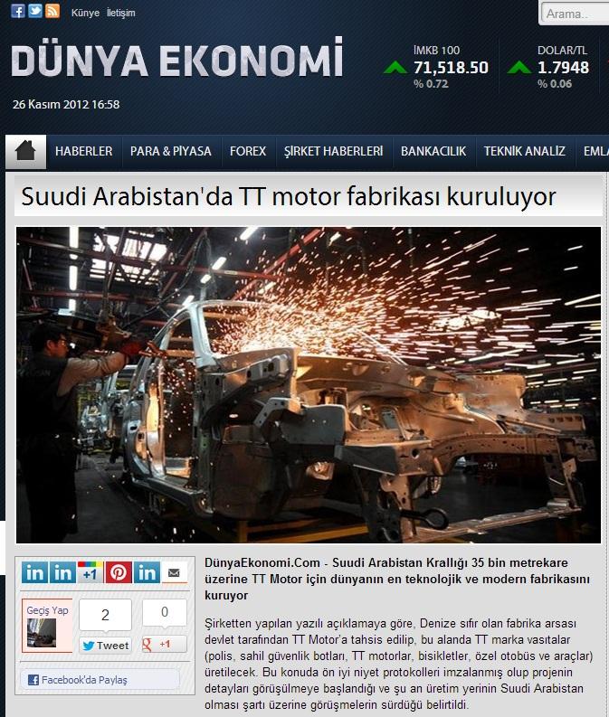 d%C3%BCnya+ekonomi Suudi Arabistanda TT motor fabrikası kuruluyor.