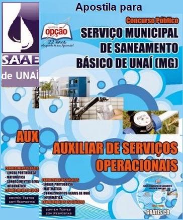 Apostila Concurso SAAE Unaí/MG - Grátis CD 2015.