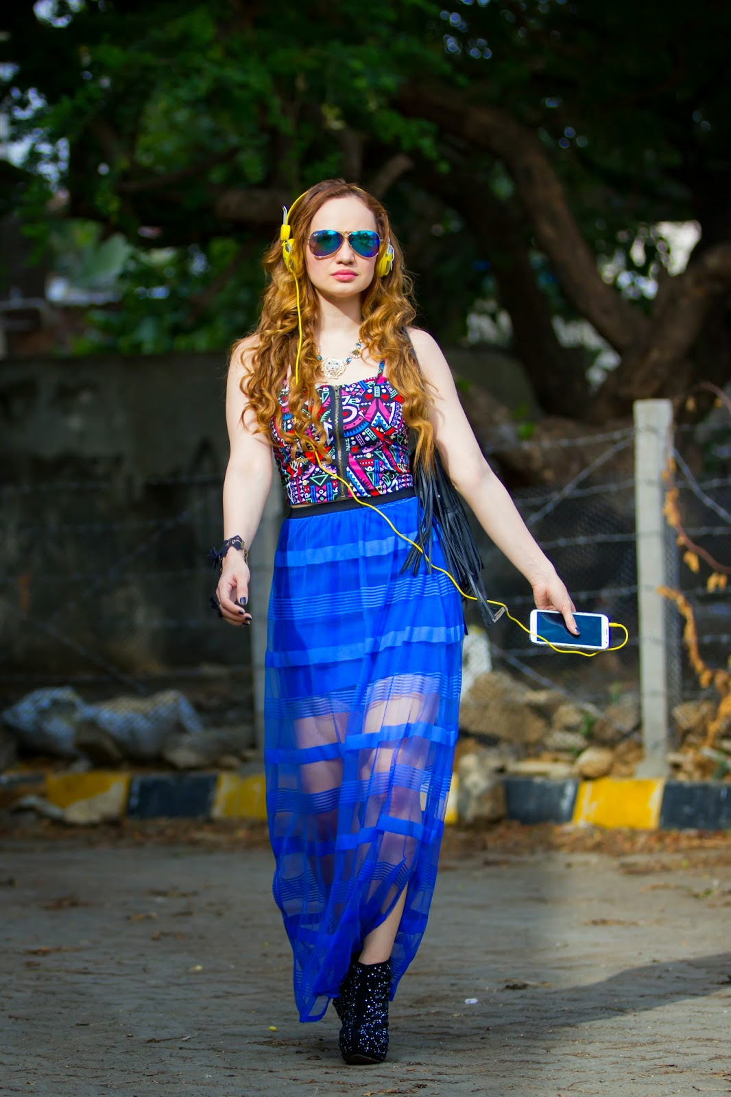 Geometric Crop Top & Sheer Maxi Skirt