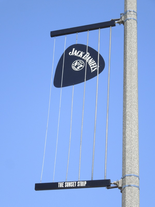 Jack Daniel's guitar pick banner ad Sunset Strip
