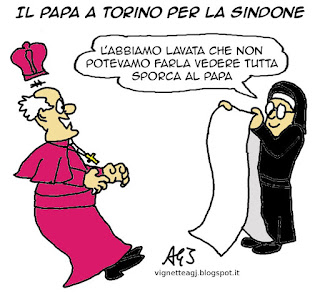 papa francesco, Sindone, umorismo vignetta