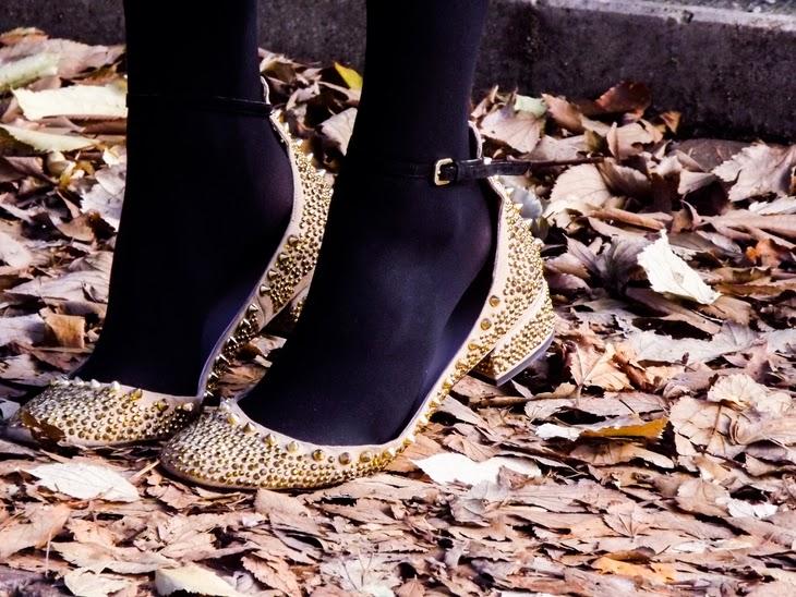 Zara Gold Studded Spiked Ballerina Flats