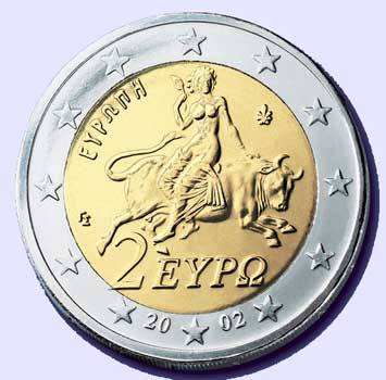 MITOLOGÍA GRECO-ROMANA EN LA MONEDA CONTEMPORANEA A-Woman-Rides-The-Beast-2-Euro-Coin