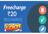 Recharge For Rs. 10 & Get Rs. 20 Cashback From Freecharge Mobile Android App