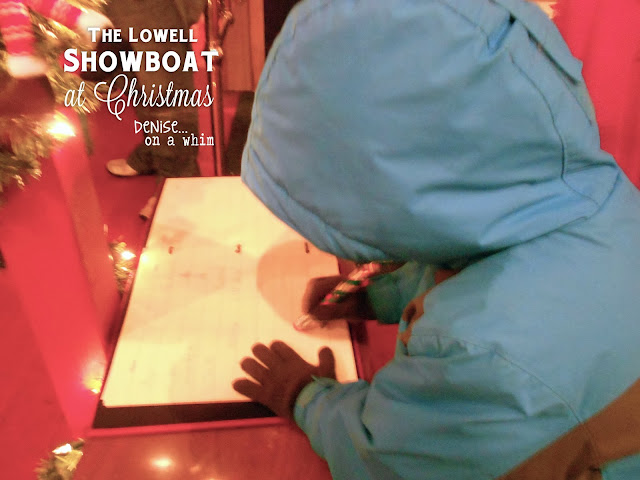 Santa's Guest Book on the Lowell Showboat at Christmas via http://deniseonawhim.blogspot.com