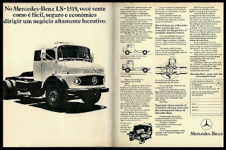 Mercedes-Benz LS-1519; 70's trucks;  brazilian advertising cars in the 70. os anos 70. história da década de 70; Brazil in the 70s; propaganda carros anos 70; Oswaldo Hernandez;
