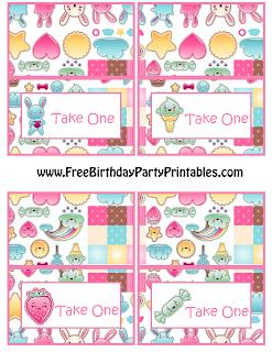 Free Kawaii Birthday Party Printables- Food Cards
