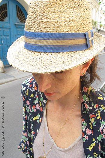 Chapeau paille femme Stetson Mandalo bleu
