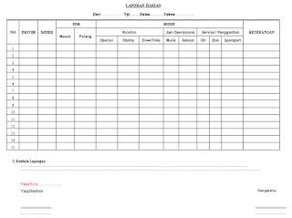 Contoh/Form Laporan Mingguan Unit Inventarisasi Bergerak Perusahaan Swasta