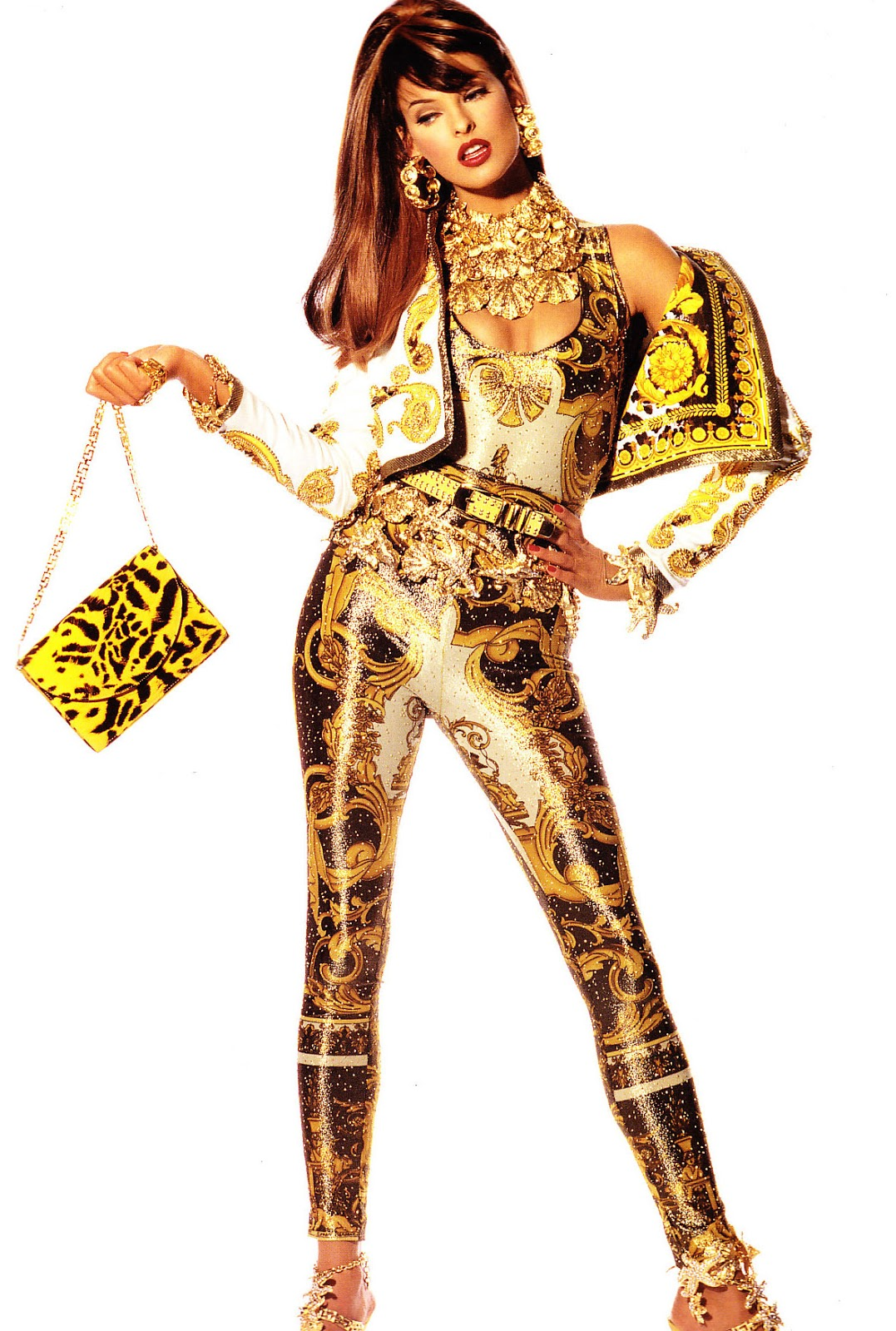 Linda Evangelista in Versace ad campaign