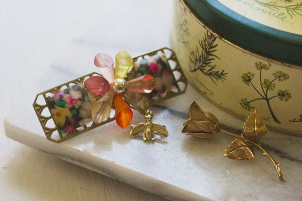 Vintage fly pin, rose brooch, floral barrette