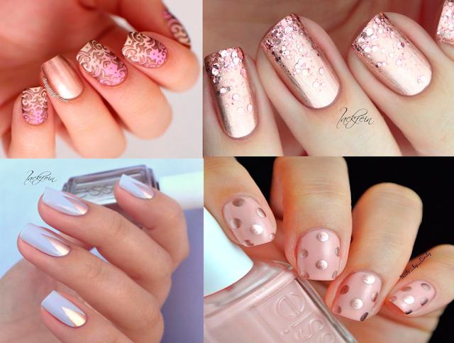 Inspiração, unhas, nail art, cobre, esmaltes, claros