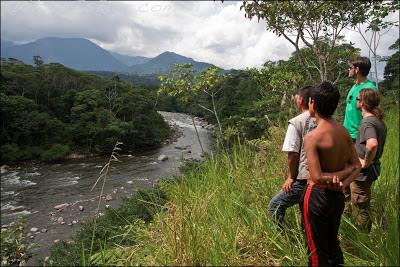 Giorgio, Joel, and our motorcycle guides looking up into the Putumayo valley, Chris Baer, Colombia, rio