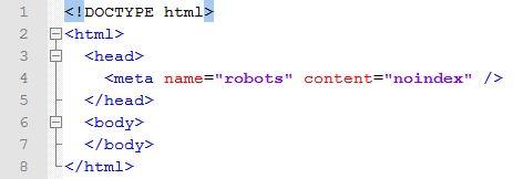 Meta-Tag noindex Beispiel