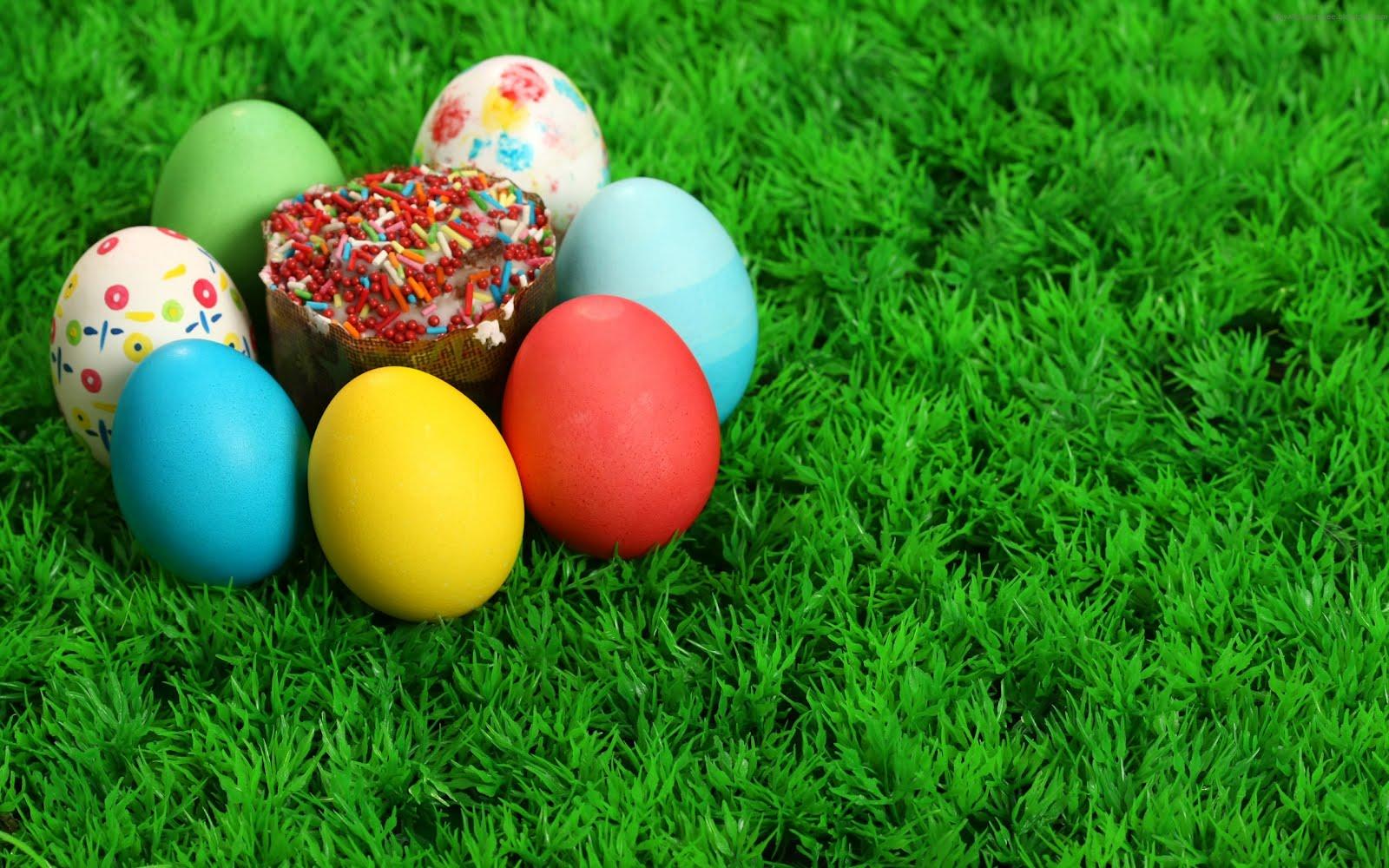Кошница с великденски яйца, HD Wallpaper