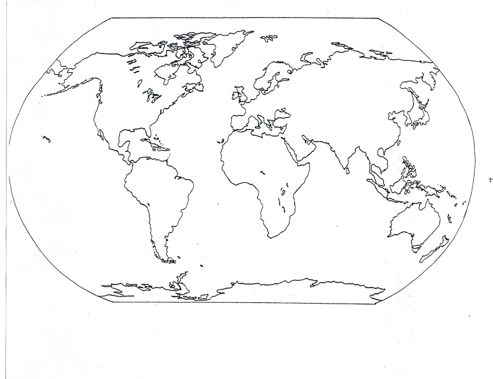 Blank map of the world continents for Continents coloring page