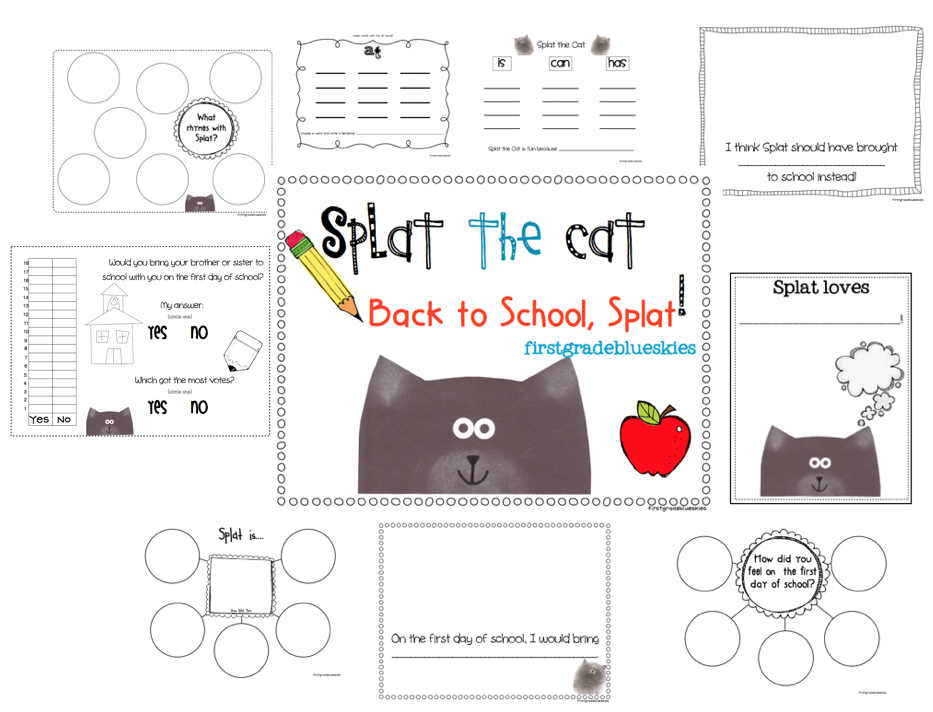 Splat the cat back to school splat first day freebie pack note the activities presented in this pack are supplemental and do not replace the book you have to purchase the book to use these materials maxwellsz