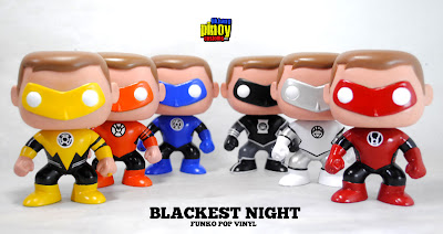 Green Lantern Hal Jordan Blackest Night Custom Pop! Vinyl Figure Set by Nico Deacosta - Sinestro Corps, Agent Orange, Blue Lantern Corps, Black Lantern, White Lantern & Red Lantern Corps.