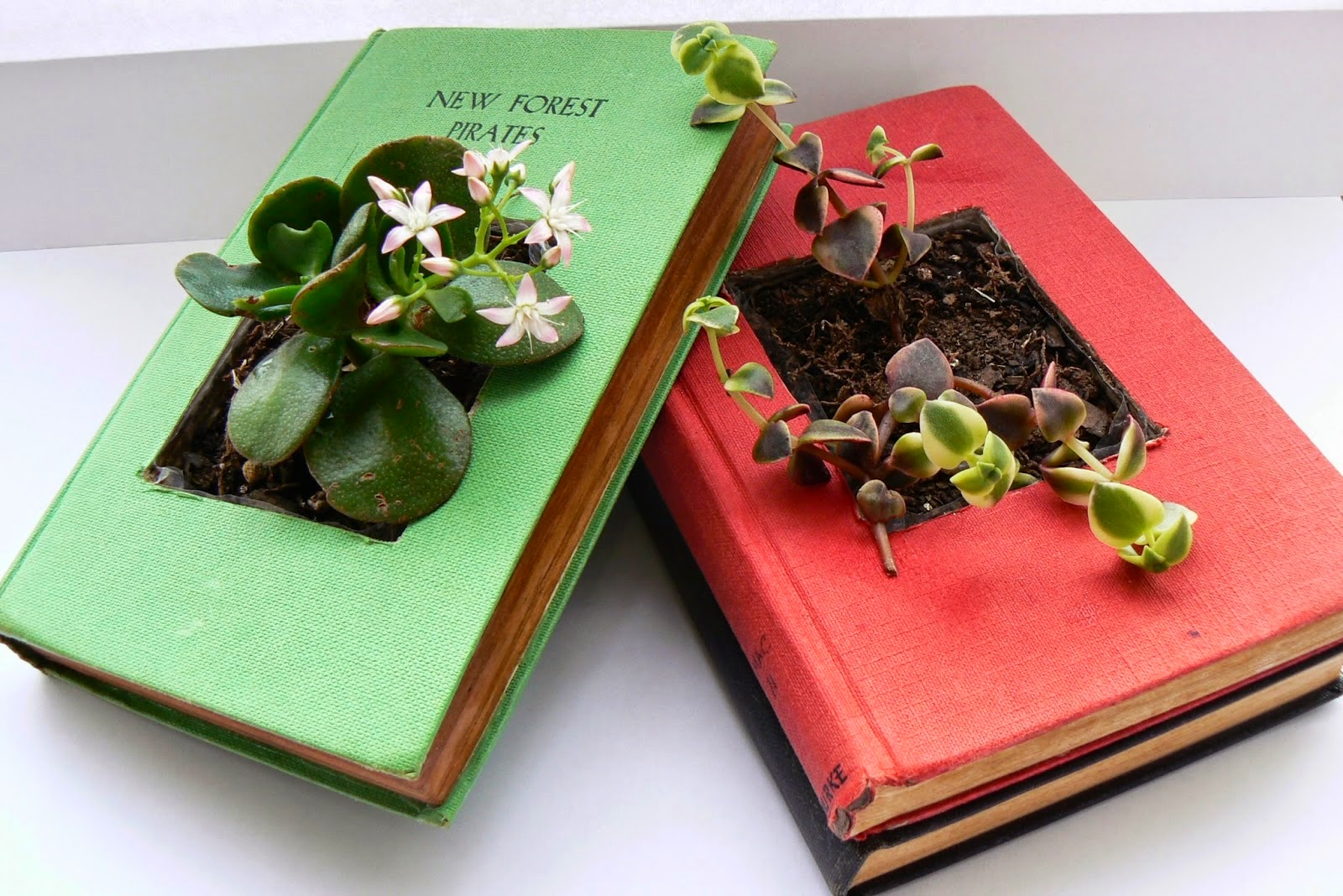http://ld-p.blogspot.com/2014/06/diy-recycled-book-planters.html