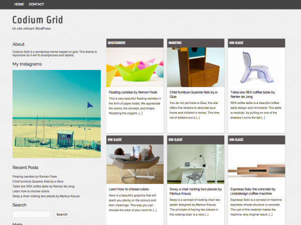 Codium Grid - free clean grid theme