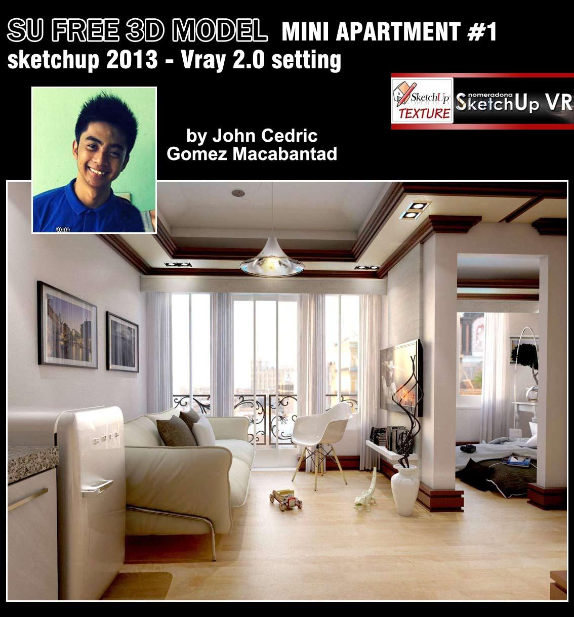 Sketchup texture sketchup model bedroom for Apartment mini model