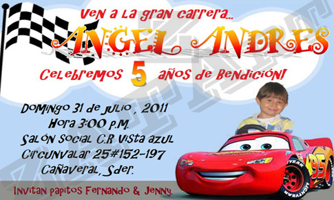 zatart: Invitaciones de cumpleaños de Cars para Angel Andres Castillo!
