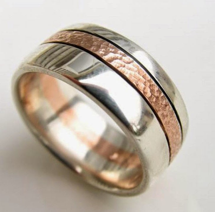 Mens Wedding Rings Rose Gold Two Tone Design pictures hd