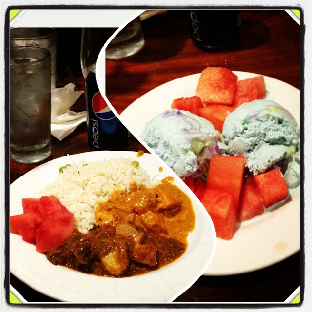 Indian Curry Buffet - Curry, rice, ice cream, and watermelons